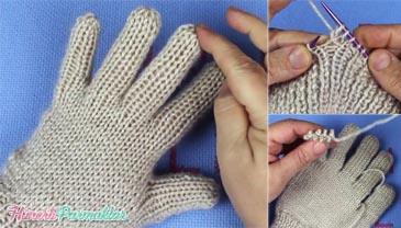 2 Şişle Parmaklı Eldiven Yapılışı