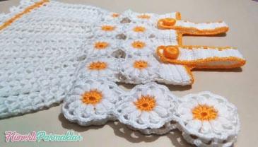 2018 Papatya Desenli Bebek Elbise Yapımı