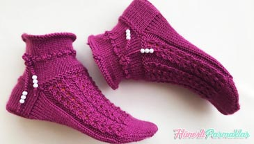 Beş Şiş Örgü Kısa Çorap Yapılışı