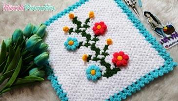 Çiçek Dalı Kare Lif Yapılışı