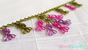 İğne Oyası Kirpikli Çiçek Modeli