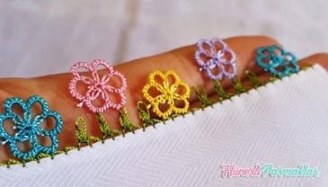 İğne Oyası Sık İğneli Çiçek