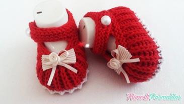 İki Şiş Süslü Bebek Patik Yapılışı