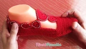 Motifli Örgü Babet Ev Ayakkabısı