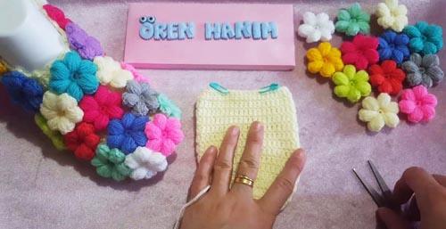 Puf Çiçekli Bebek Patik Modeli Yapılışı Videolu Anlatımlı 73