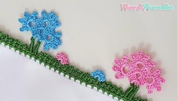 Saplı Çiçek Tığ Oyası Yapımı