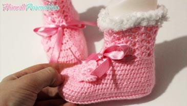 Tığ İşi Tüylü Bebek Botu Yapımı