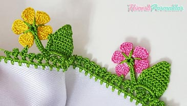 Yaprak Yamacında Çiçek Tığ Oyası Yapılışı